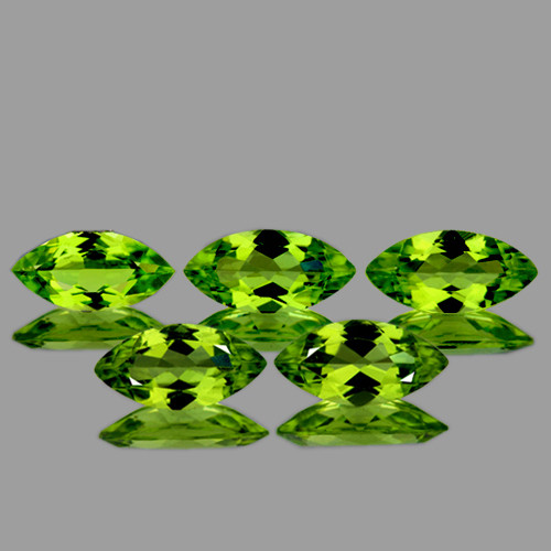 8x4 mm Marquise 5 pcs 2.66cts Green Peridot [VVS}