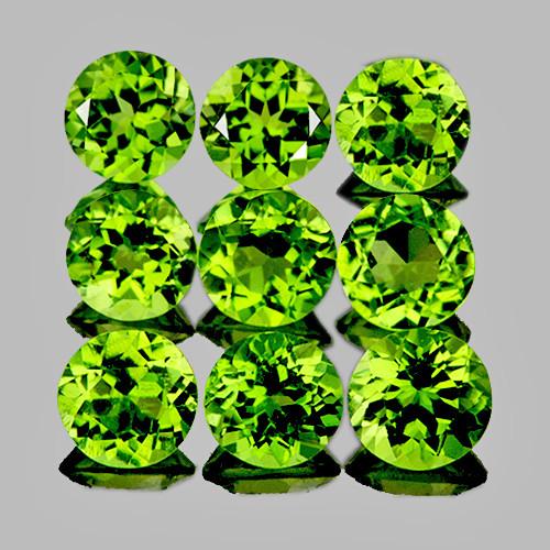 5.00 mm Round 9 pcs 4.71cts Green Peridot [VVS}