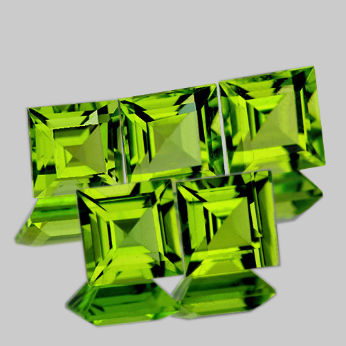 5.00 mm Square 5 pcs 3.30cts Green Peridot [VVS]