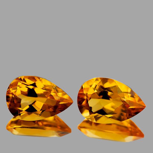 9x6 mm Pear 2 pcs 2.01cts Golden Yellow Citrine [VVS}