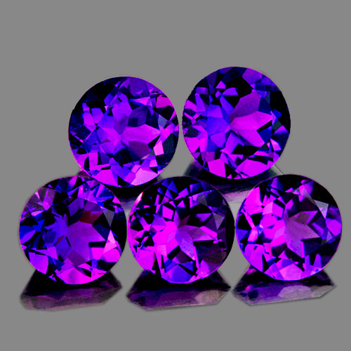 6.00 mm Round 5 pcs Intense Purple Amethyst [VVS]