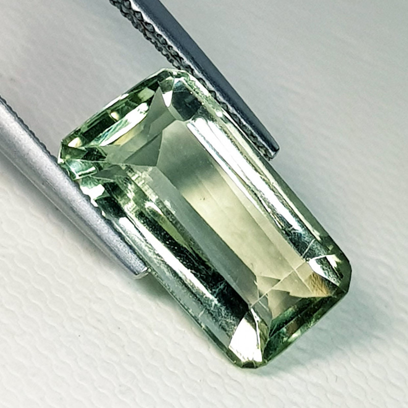 6.64 ct AAA Grade Gem Emerald Cut Natural Green Amethyst