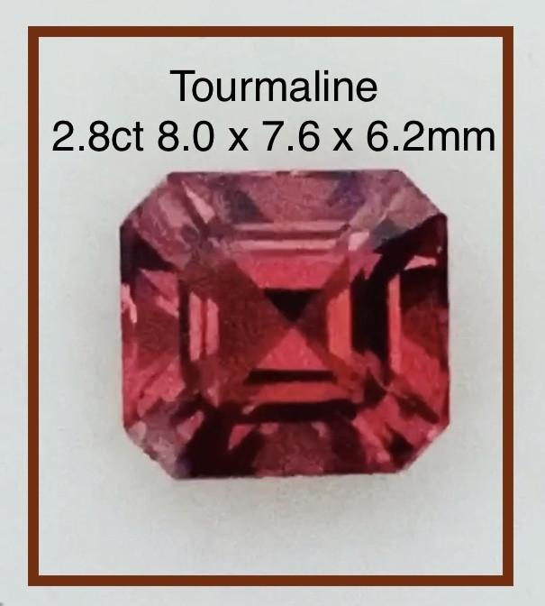 Pretty Asscher Cut Red Tourmaline