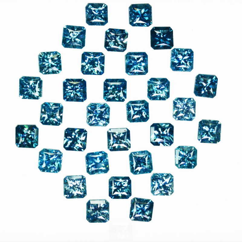 31.54Cts Natural Sparkling Blue Zircon Square Radiant Cut 5.00mm Cambodia
