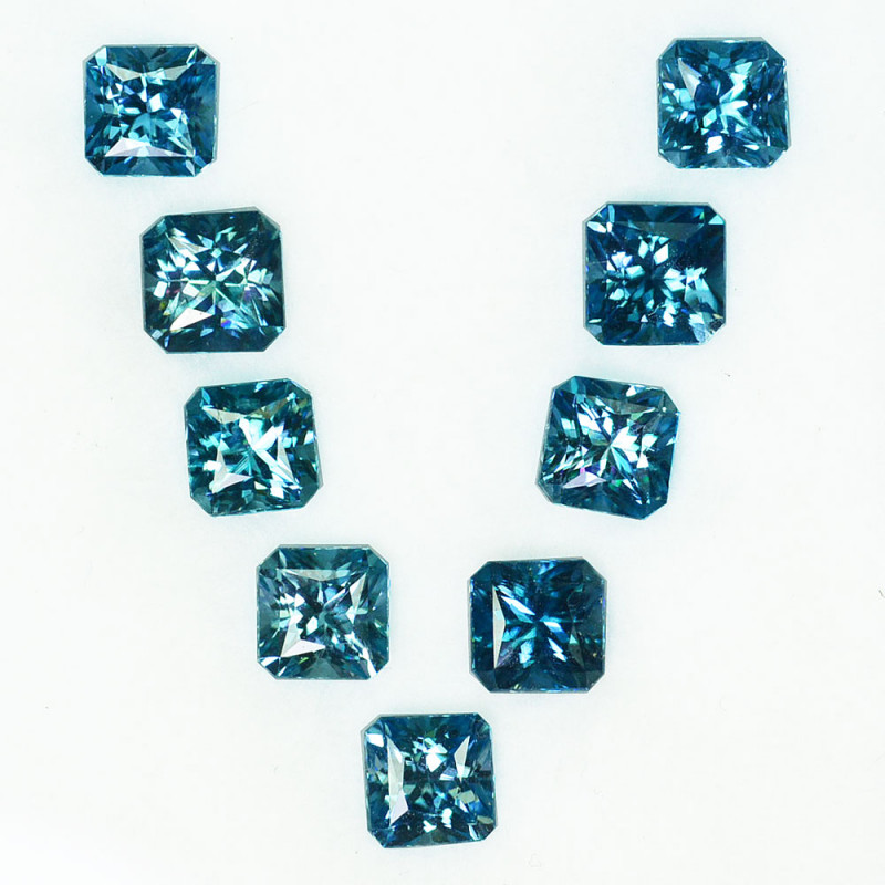 12.21Cts Natural Sparkling Blue Zircon Square Radiant Cut 6.00mm Cambodia