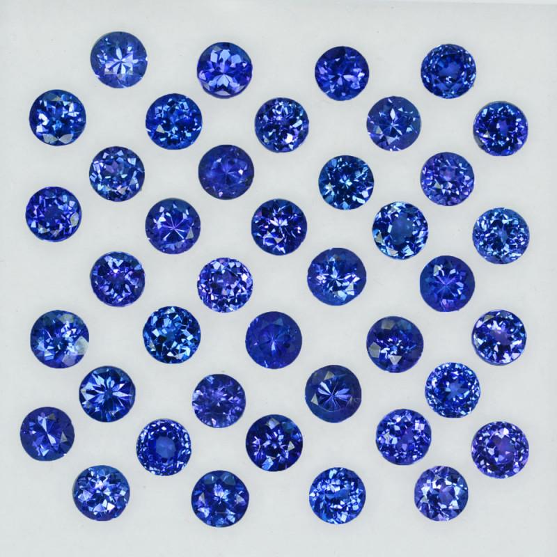 14.25Ct Natural Purple Blue Tanzanite Round 4mm Calibrated