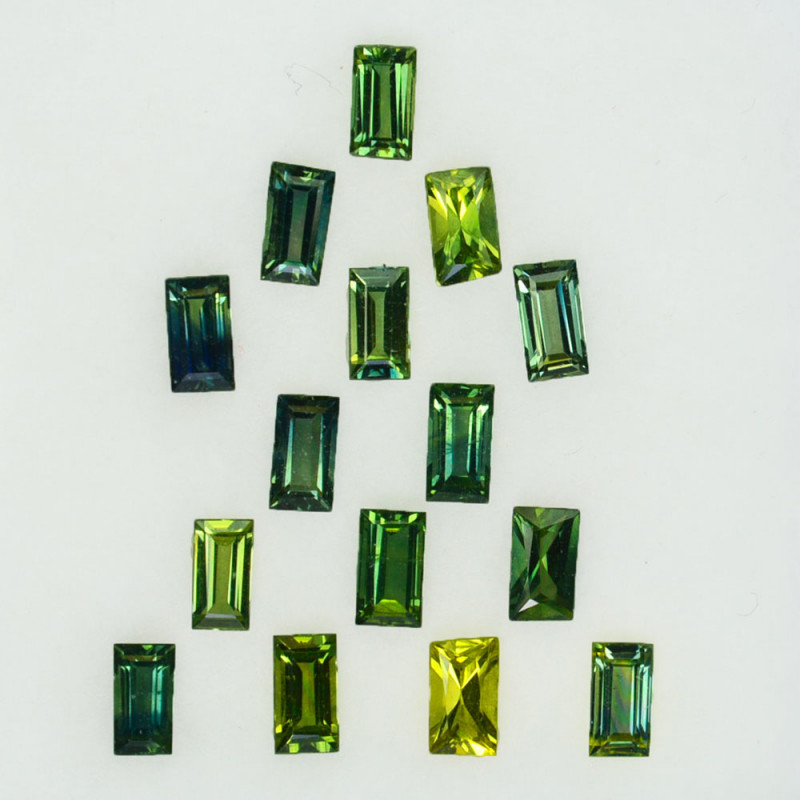 2.41Ct Natural Australian Green Sapphire Baguette  4 X 2mm Parcel
