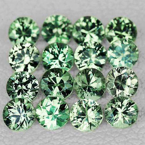 1.70 mm Round Machine Cut 35 pcs 1.00ct Green Sapphire [VVS]