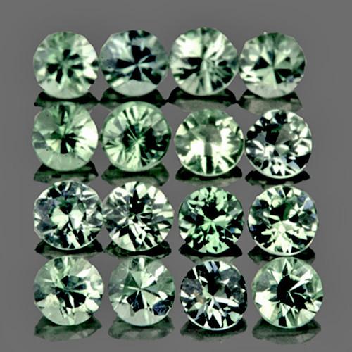 2.00 mm Round Machine Cut 20 pcs 1.13cts Green Sapphire [VVS]