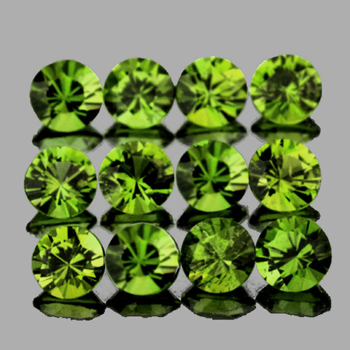2.70 mm Round 12 pcs 1.17cts Forest Green Sapphire [VVS]