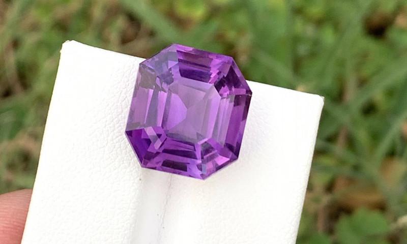 14.20 Carats fancy Asscher cut amethyst gemstone