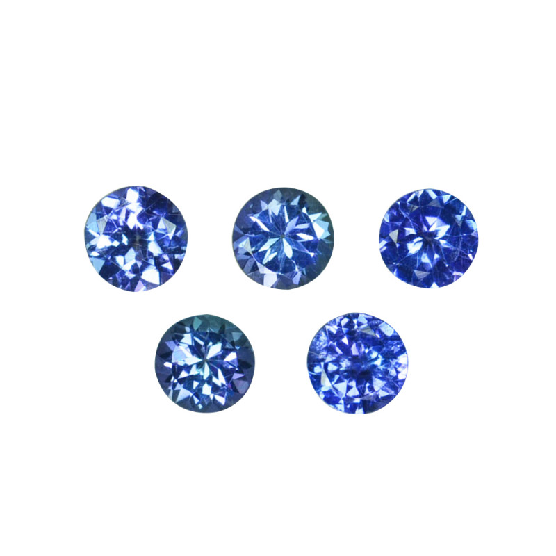 2.02 Cts Natural Purple Blue Tanzanite 5mm Round 5Pcs Tanzania