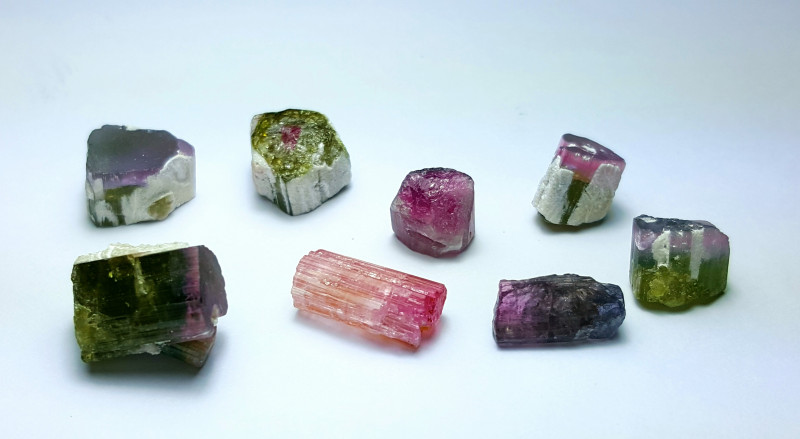Amazing Natural Watermelon Tourmaline crystals/rough 65Cts-A