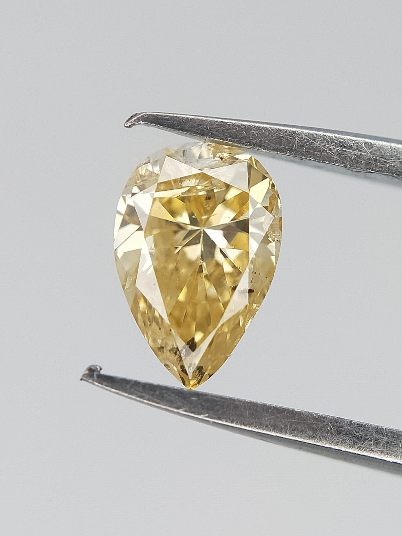 0.20 Cts , Natural Yellow Diamond , Pear Cut