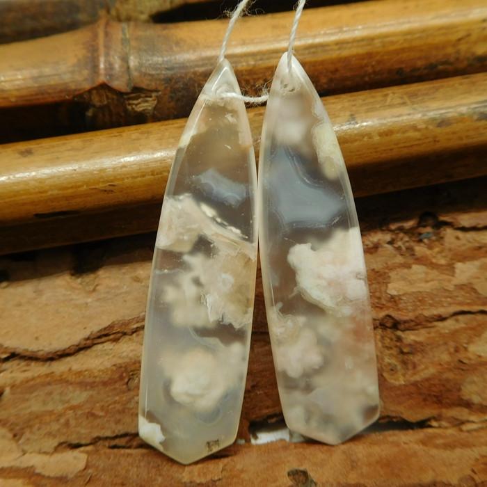 Sakura agate earring bead (G2136)