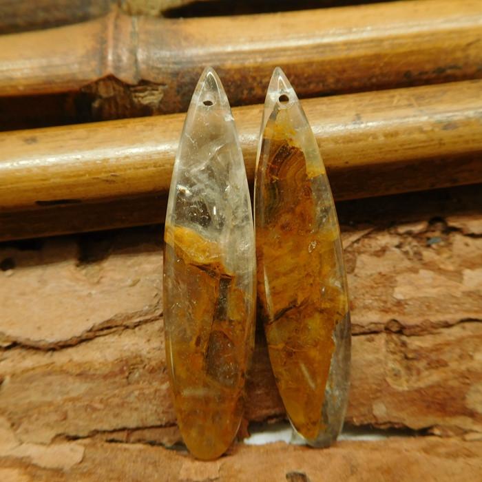 Natural yellow quartz gemstone bead (G2148)