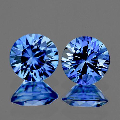 3.80 mm Round 2 pcs 0.50ct Light Ceylon Blue Sapphire [VVS]