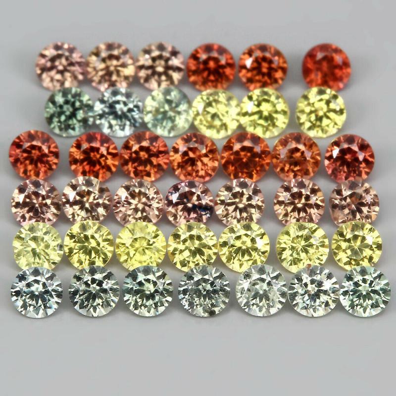 1.57 Ct 2mm 40 Pcs. Round Diamond Cut Natural Pad Orange Yell Green Sapphir