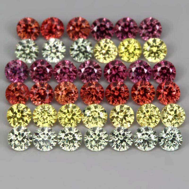 1.60 ct 2 mm 40p Diamond Cut Natural Pinkish Red Yell Green Org Sapphire