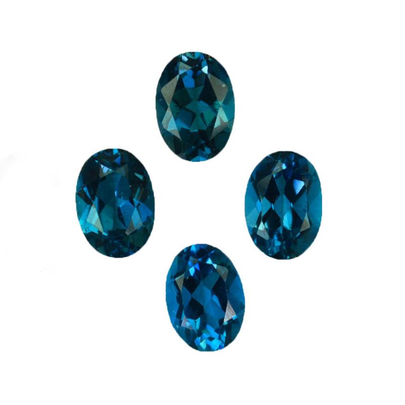 3.90 Cts Natural London Blue Topaz 7x5mm Oval Cut 6Pcs Brazil