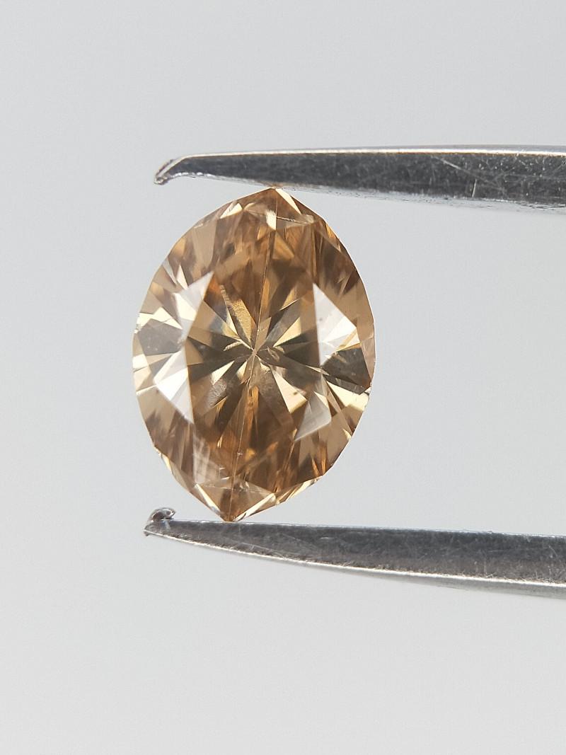 0.14 cts , Marquise Brilliant cut Diamond , Champagne Color