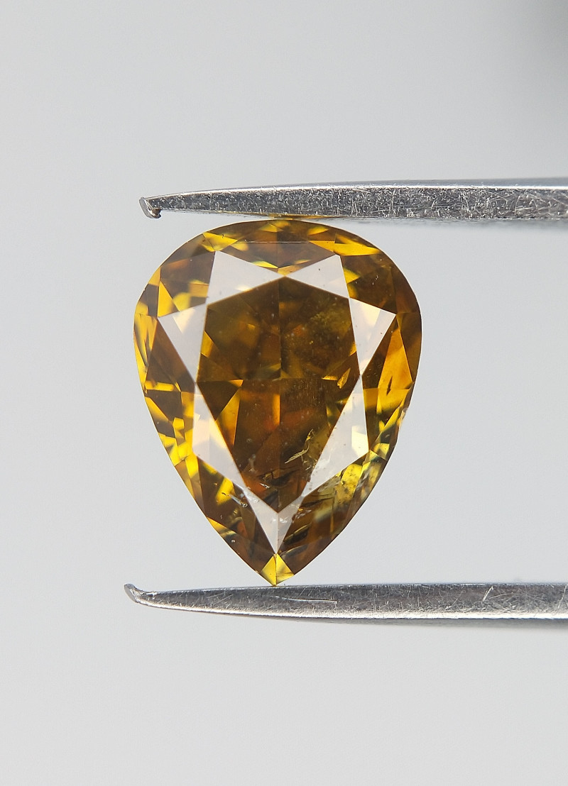 0.70 CTS ,  Pear Brilliant Diamond , Dark Yellow Diamond