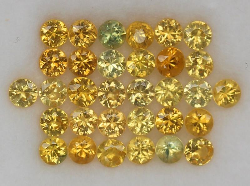 4.04ct.3MM.DIAMOND CUT GOLDEN YELLOW SAPPHIRE NATURAL GEMSTONE 32PCS.