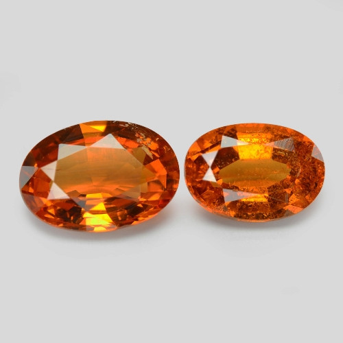 1.85 Cts 2 Pcs Natural Orange - Red Spessartite Garnet Loose Gemstone