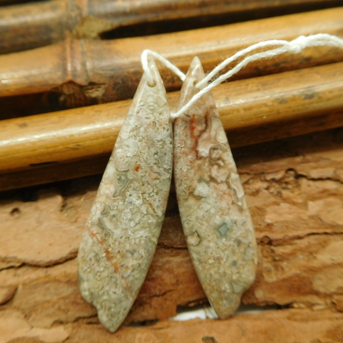 Natural crazy rosetta agate earring bead(G2194)