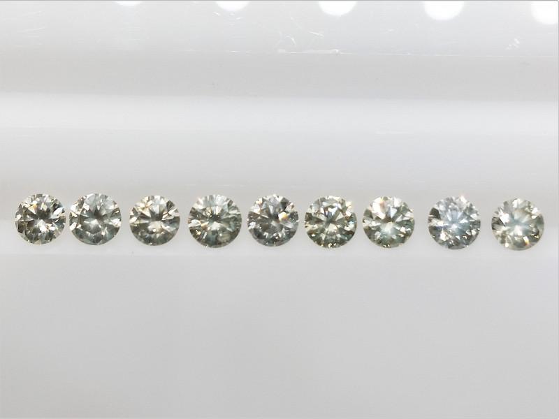 9 PCS/0.96 cts , Natural Round Diamonds , Off white Light Colored Diamonds