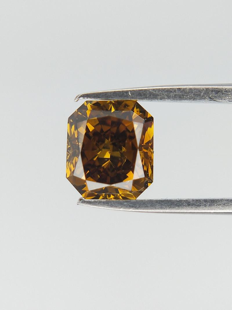 0.52 cts , Radiant Cut Diamond , Rare Green Yellow Color