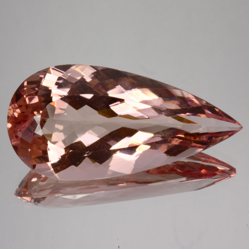 ~DAZZLING~ 36.03 Cts Natural Morganite Peach Pink Drop (Pear Cut) Brazil