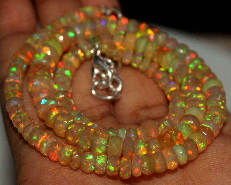 70 Crts Natural Ethiopian Welo Faceted Opal Beads Necklace 11