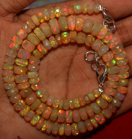 85 Crts Natural Ethiopian Welo Faceted Opal Beads Necklace 21