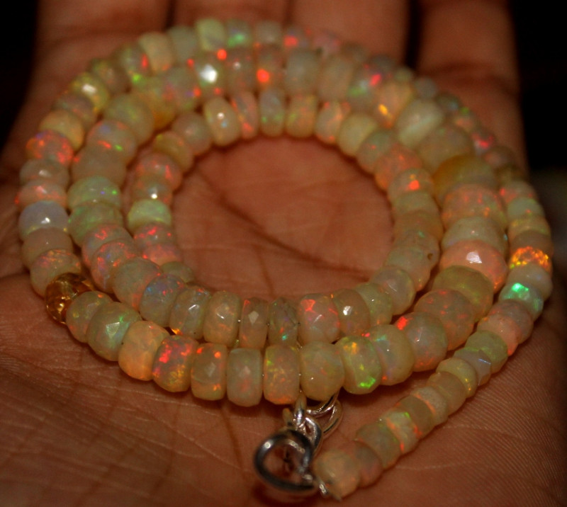 83 Crts Natural Ethiopian Welo Faceted Opal Beads Necklace 26
