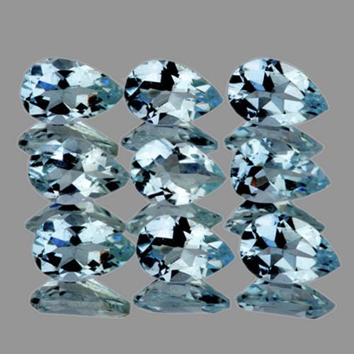 5x3 mm Pear 9 pcs 1.68cts Blue Aquamarine [VVS}