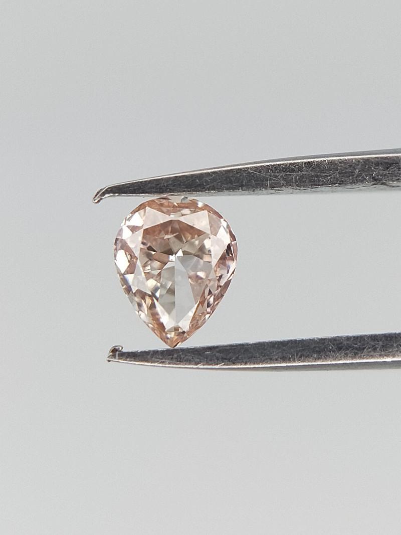 0.09 CT , Natrual very light peach Pink Diamond , Pear Brilliant Cut