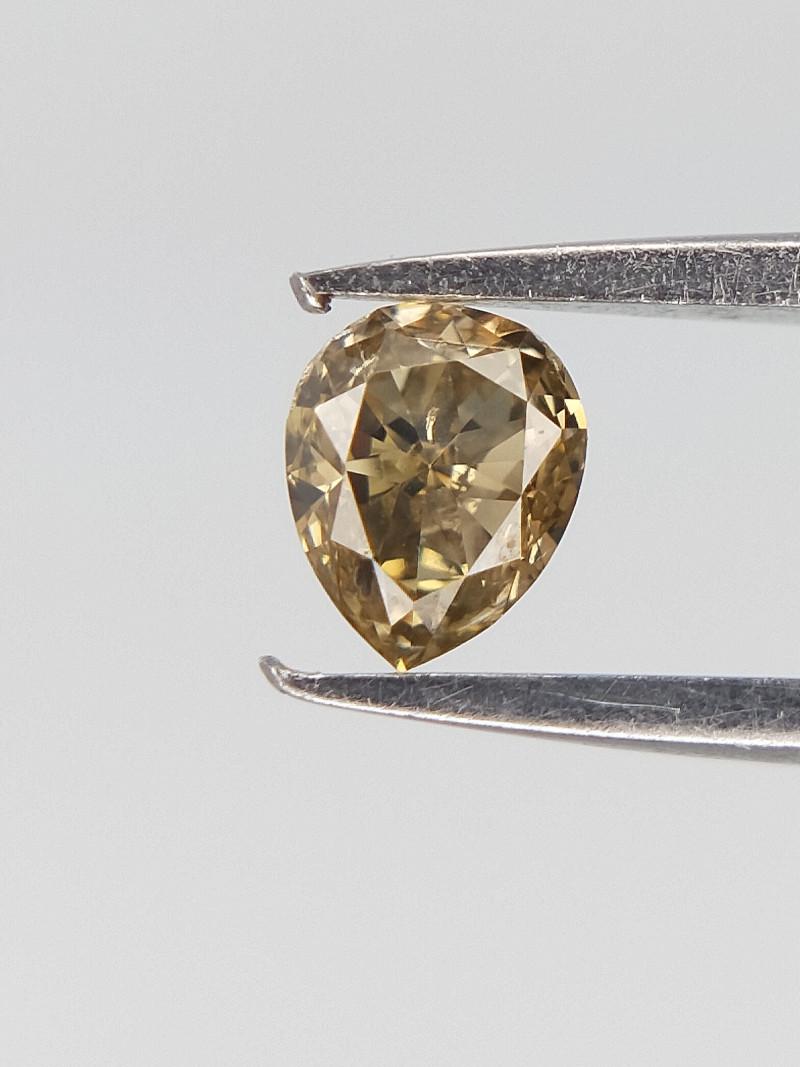 0.10 CTS , Champagne Natural Diamond , Pear Brilliant Cut