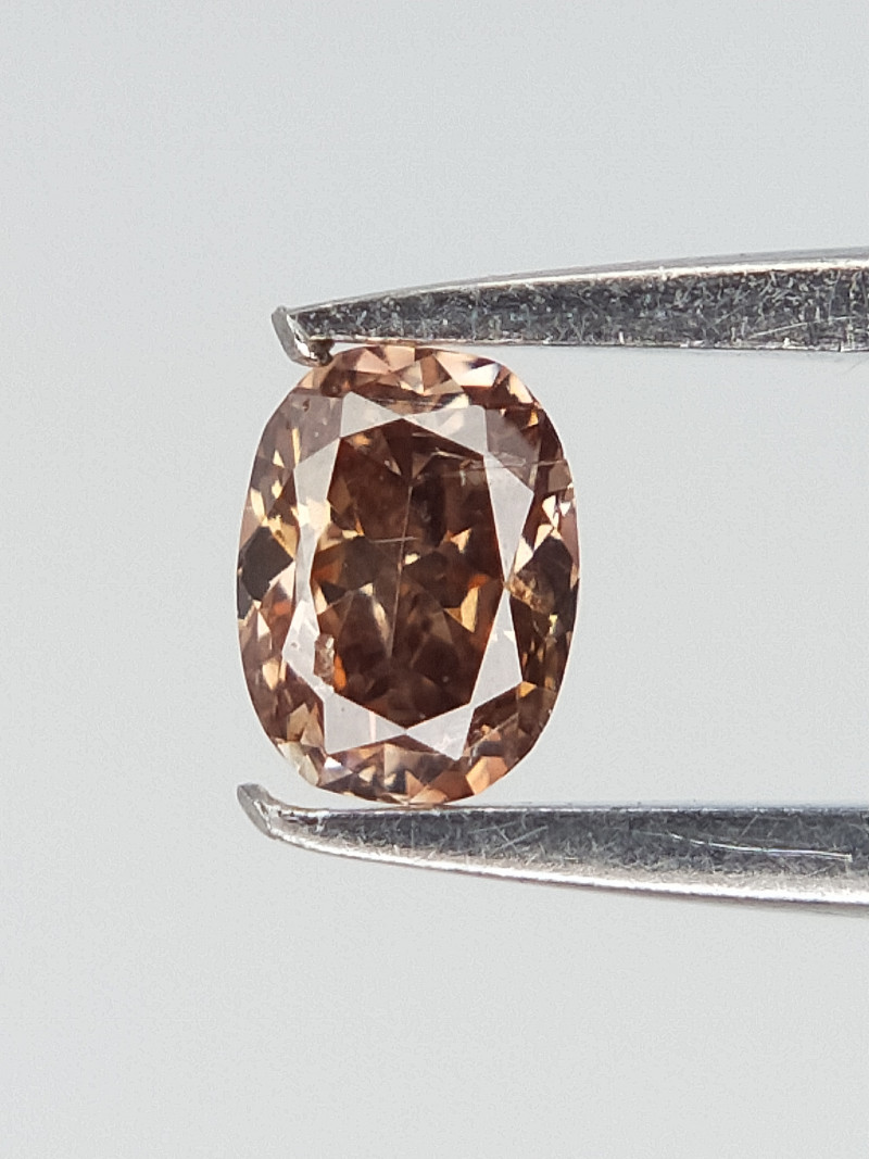 0.06 cts , Pink Brown Overtone Natural Diamond , Pear Cut Natural Diamond
