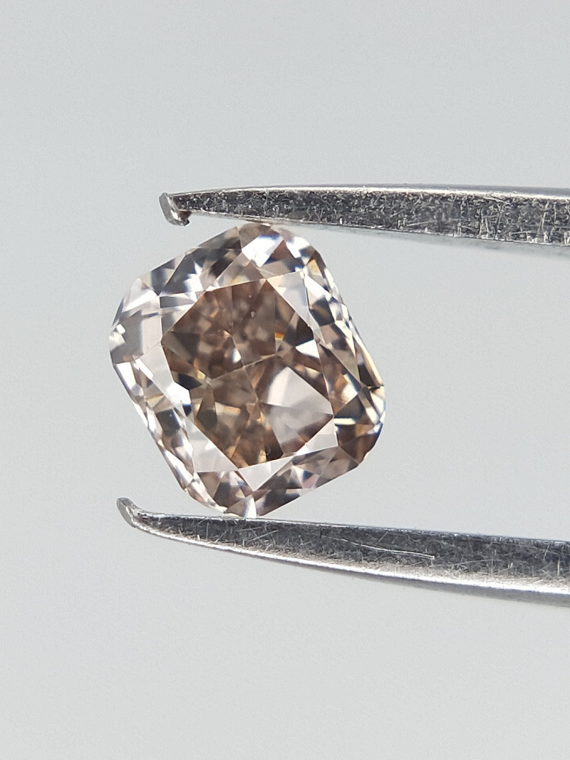 0.14 CTS ,  Slight Peach Diamond , Cushion Diamond