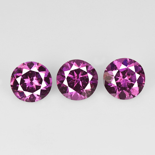 *No Reserve*Malaya Garnet 1.38 Cts 3 Pcs Unheated Natural Pink Gemstone