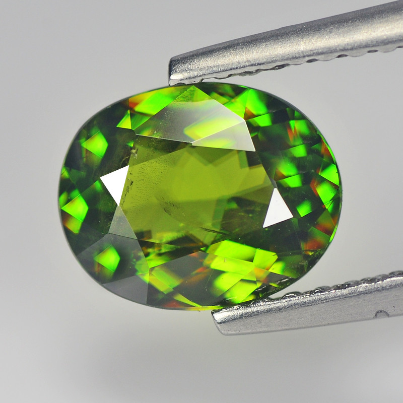 1.42 Cts pakistan Sphene Chrome Green Oval Portuguese Cut BGC621
