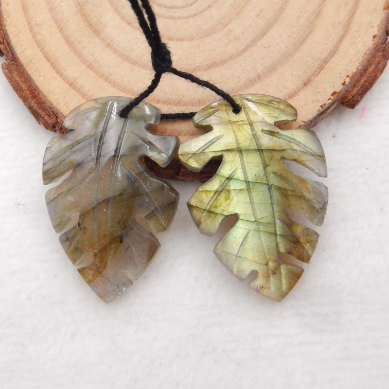 46ct Natural labradorite carved leave shape earring beads H452