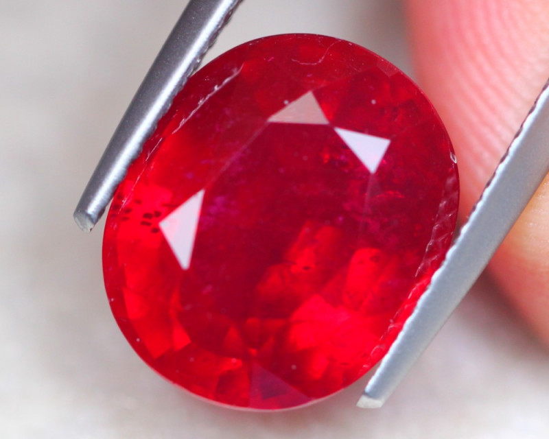 7.44ct Blood Red Color Ruby Oval Cut Lot V7860