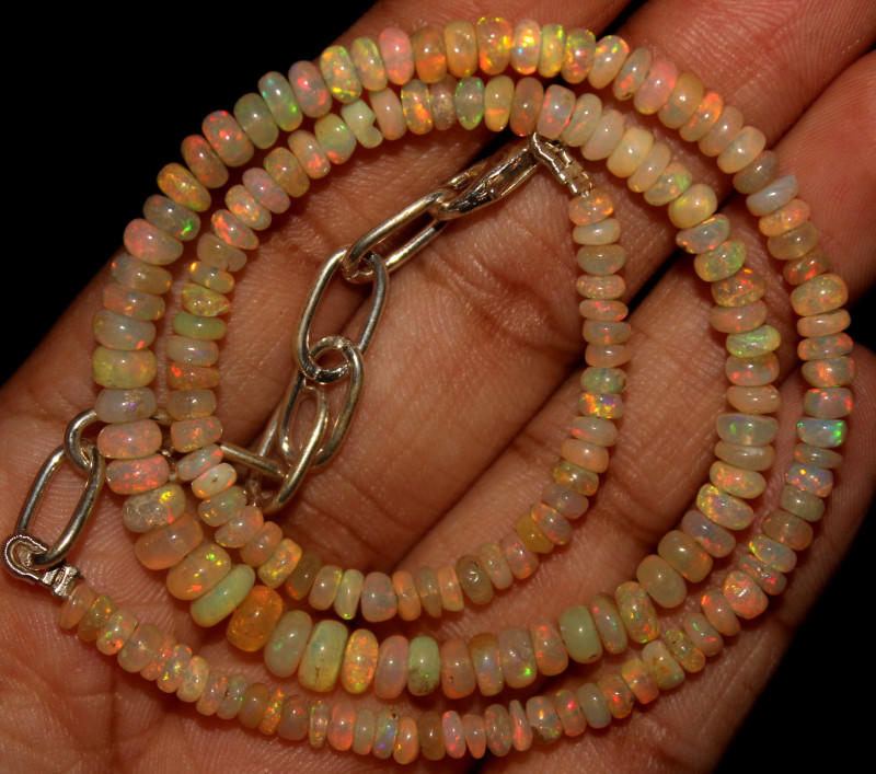 31 Crts Natural Ethiopian Welo Opal Beads Necklace 756