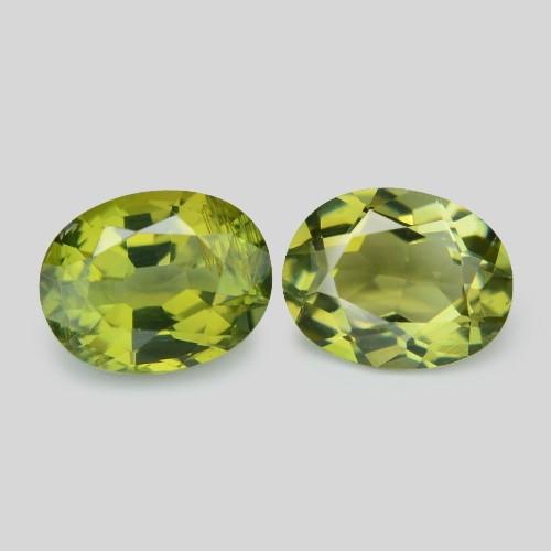 1.87 Cts 2 Pcs Un Heated Green Color Natural Tourmaline Loose Gemstone