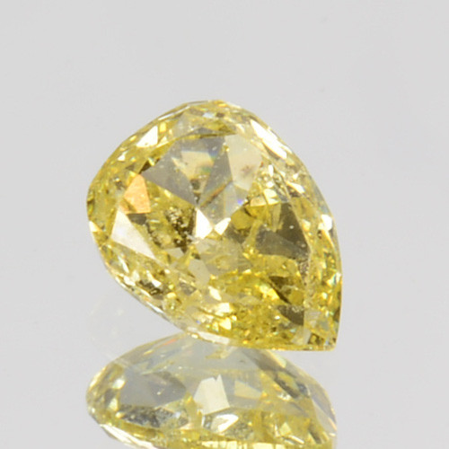 ~UNTREATED~ 0.14 Cts Natural Diamond Fancy Yellow Pear Cut Africa