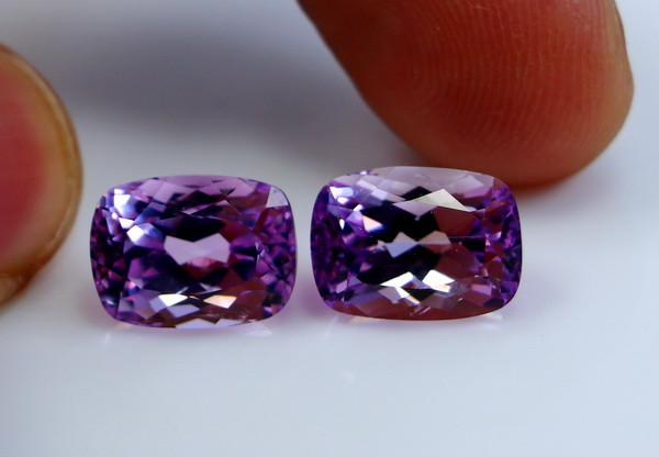 12.05 CT Natural - Unheated Pink Kunzite Gemstone Pair