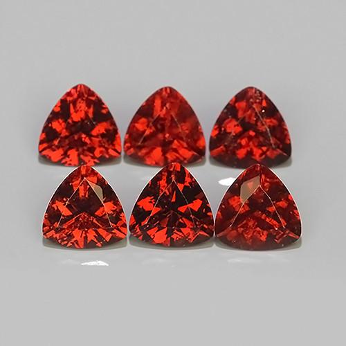 5.40 CTS NATURAL -RHODOLITE ORANGE-RED TRILLION GARNET 6 PCS!!