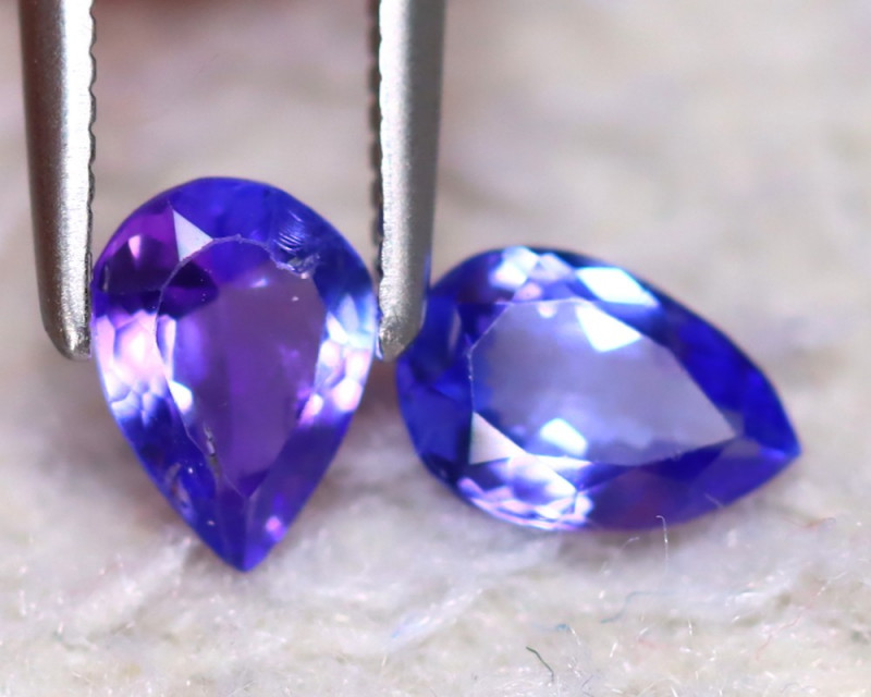 Tanzanite 0.95Ct 2Pcs Natural VVS Purplish Blue Tanzanite EF2527/D3